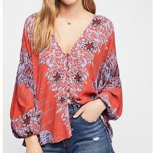 Free People Birds of a Feather Boho Peasant Top XS